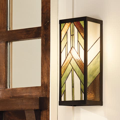"""River of Goods Green Stained Glass and Black Satin Rectangular 1-Light Outdoor Wall Sconce - 6.25"""" x 5.5"""" x 16.25"""""""