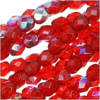Czech Fire Polished Glass Beads 4mm Round Red Ruby AB (50)