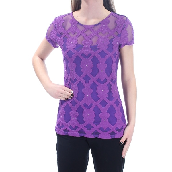 8951c38c3c6 Shop INC Womens Purple Embroidered Embellished Lace Short Sleeve Scoop Neck  Top Size  XS - Free Shipping On Orders Over  45 - Overstock.com - 21217534