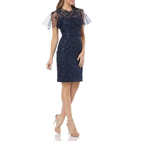 Carmen Marc Valvo Womens Cocktail Dress Mesh Embroidered - Navy
