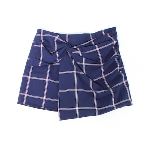 Leith Navy Blue Pink Women's Size XL Plaid Print Ruched Skorts