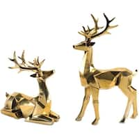 Set of 2 Gold Colored Standing and Sitting Deer Tabletops 18""