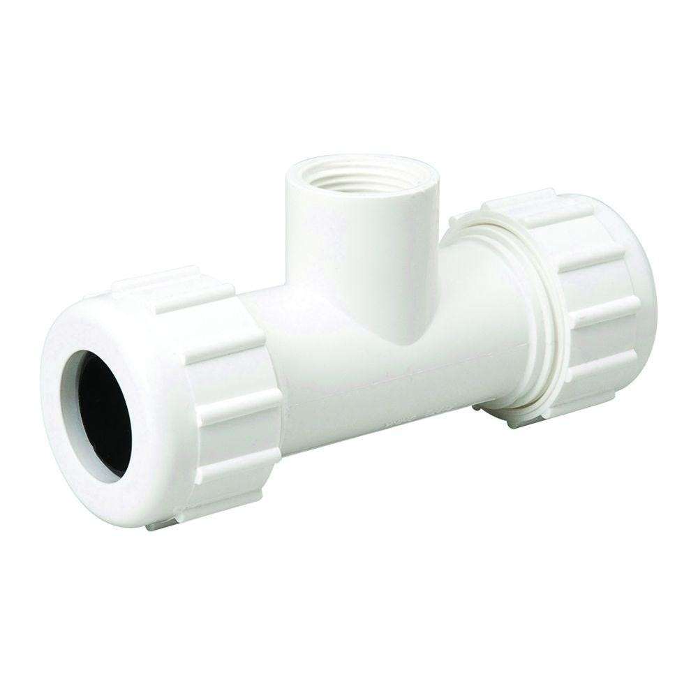 Homewerks 511-48-34-34-34B PVC Compression Adapter Tee with FIP Branch, 3/4