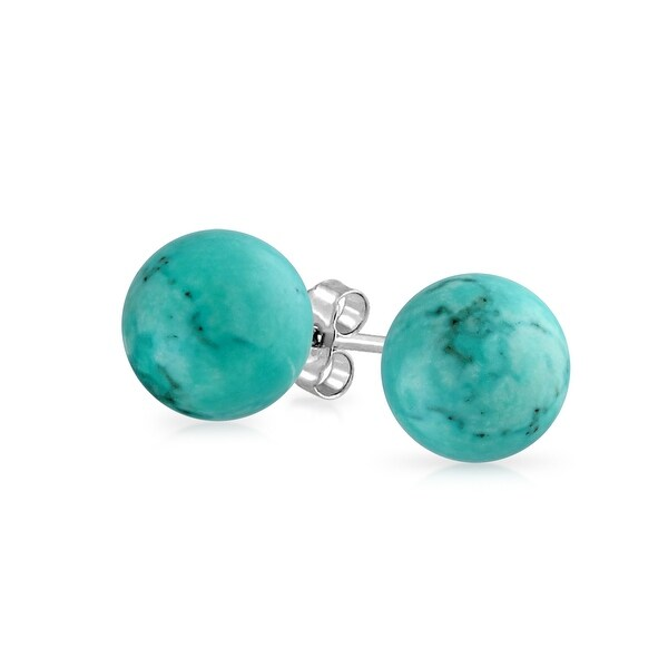 Bling Jewelry Silver Plated Ball Reconsuted Turquoise Earrings Studs 10mm