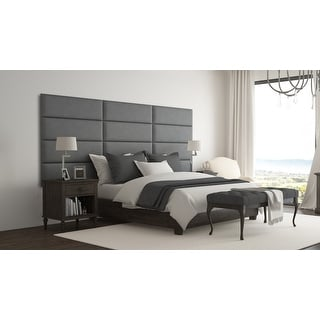 Vant Upholstered Wall Panels (Headboards) Sets of 4 - Micro Suede Gray - 39 Inch - Twin-King.