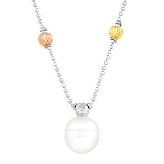 Ringed Freshwater Pearl Stardust Beaded Necklace in 14K Two-Tone Gold-Plated Sterling Silver