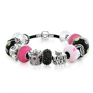 Bling Jewelry 925 Sterling Silver Queen of Hearts Charm Bracelet Enamel Crystal Bead