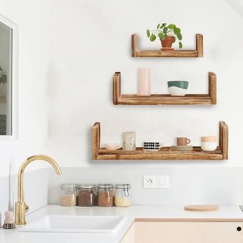 ALEKO Modern Wood Wall Mount Storage Floating U-Shaped Shelves - Set of 3