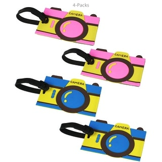 JAVOedge 4 Pack Blue and Pink Camera Design Rubber Luggage Tags with Adjustable Strap and Information Card for Easy Use