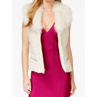 Guess NEW White Ivory Faux-Fur Faux-Leather Women's Size Medium M Vest