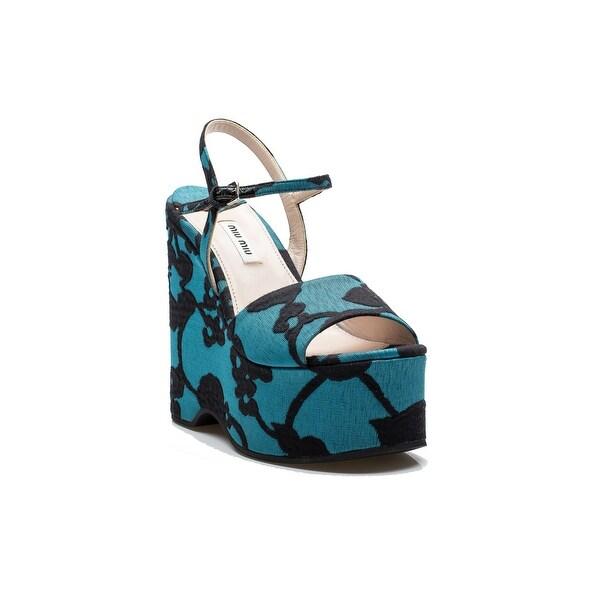 Miu Miu Women's Fabric Floral Pattern Adjustable Strap High Heel Platform Shoes Turquoise