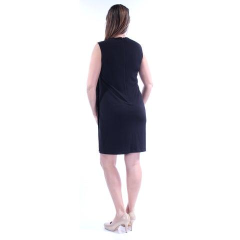 JESSICA SIMPSON Womens Black Beaded Sleeveless Jewel Neck Above The Knee Dress Size: 12