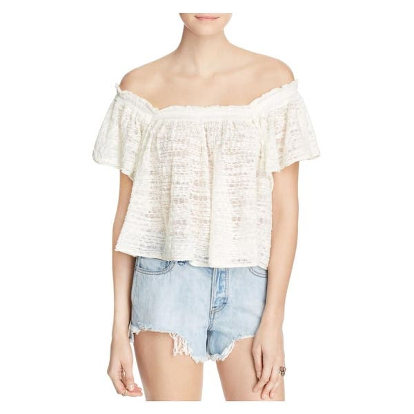 9b8f0bfedfc Free People Womens Thrills & Frills Crop Top Open Stitch Off-The-Shoulder