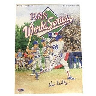 Vin Scully Autographed Dodgers 1988 World Series Signed Program Magazine PSA DNA COA 1