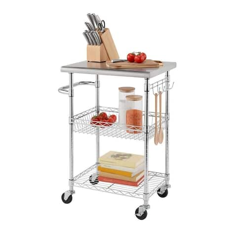 """TRINITY EcoStorage 24"""" Stainless Steel Kitchen Cart"""