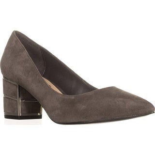 Steve Madden Buena Pointed Toe Block Heel Kitten Pumps, Grey