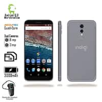 Indigi 4G LTE GSM Unlocked 5.6-inch HD Display SmartPhone (QuadCore 1.2GHz + 1GB RAM + Bluetooth Headset Included) Black
