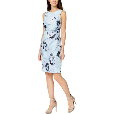 cf3f62ecf82 Calvin Klein Womens Wear to Work Dress Floral Print Knee-Length