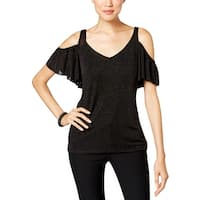 MSK Womens Blouse Glitter Cold-Shoulder