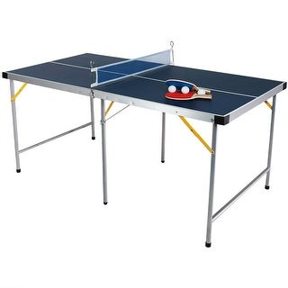 Sunnydaze 60 Inch Table Tennis Ping Pong Portable Folding Table and Accessories