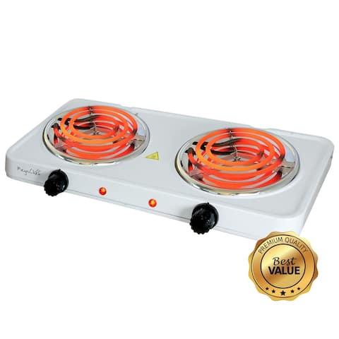 MegaChef Portable Double Burner Electric Coil Cooktop