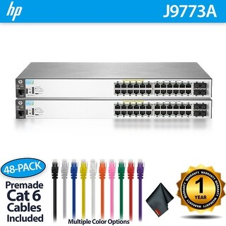 2 x Aruba 2530 24G PoE+ Switches (J9773A) - 24 Ports + 48 CAT6 Cables