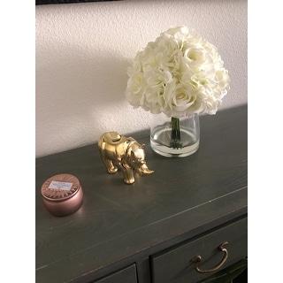 Pure Garden Hydrangea and Rose Floral Arrangement with Vase - Cream