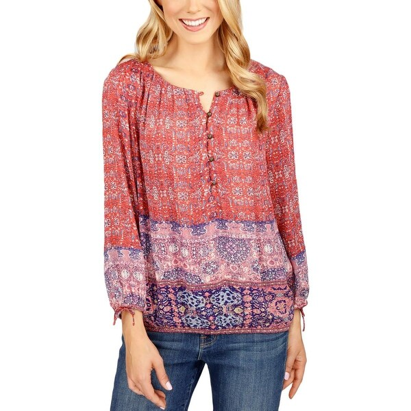 51235fe7c1b5e Shop Lucky Brand Womens Peasant Top Printed 1 2 Placket - xs - Free  Shipping On Orders Over  45 - Overstock - 19451585