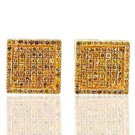 Yellow Diamond Earrings for Men or Women 10k Gold Fashion 0.33ctw Screw on Back(i2/i3) By MidwestJewellery - White
