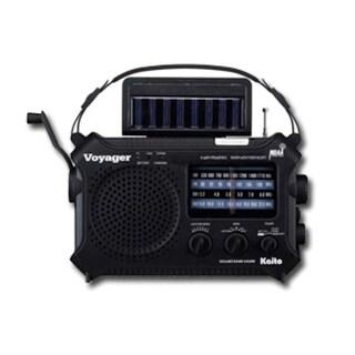 Kaito Solar-Powered Emergency Band Radio: Black, Hand Crank - Black