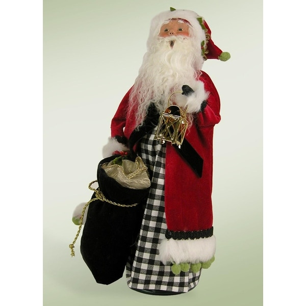 "13.5"" Checkered Modern Jolly Santa with Lantern Christmas Figure - RED"