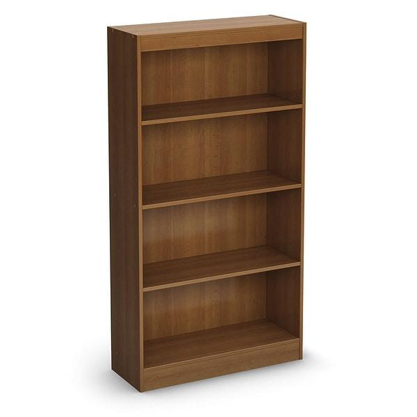 Contemporary 4-Shelf Bookcase in Medium Cherry Wood Finish