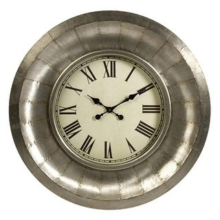 "33.25"" Industrial Riveted Aluminum Roman Numeral Display Round Wall Clock"