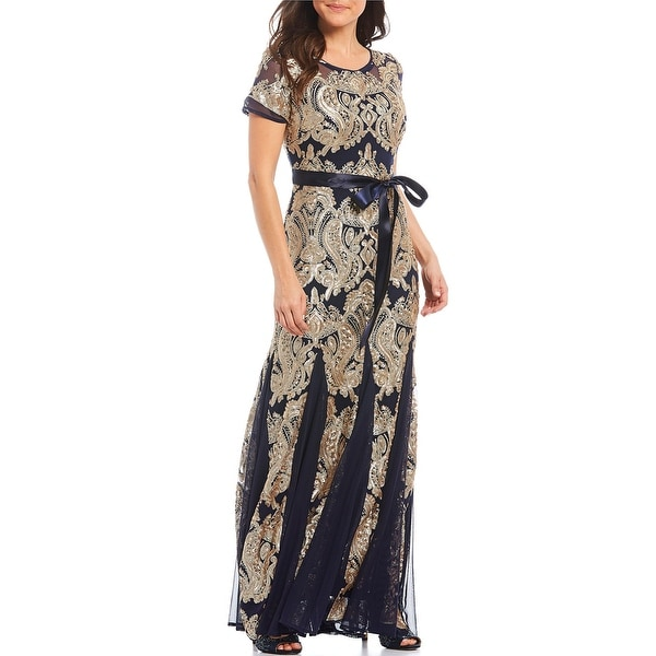 R & M Richards Short Sleeve Mesh Sequin Gown, Navy/Gold, 12P. Opens flyout.