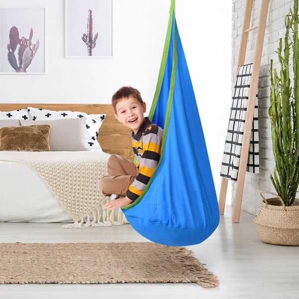 Costway Child Pod Swing Chair Tent Nook Indoor Outdoor Hanging Seat Hammock Kids Overstock 15954938