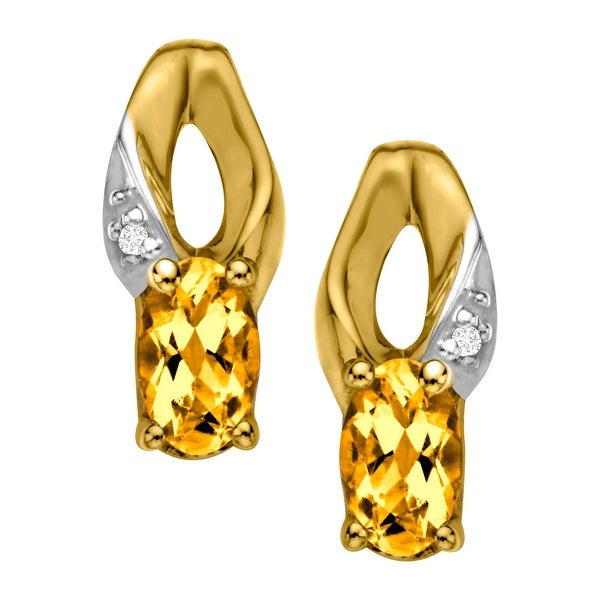 7/8 ct Natural Citrine Earrings with Diamonds in 10K Gold - Yellow