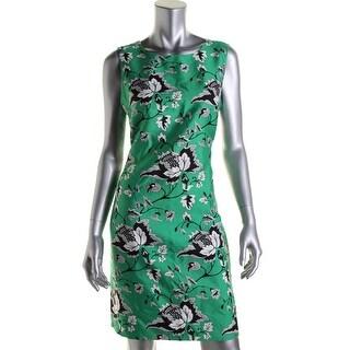 Diane Von Furstenberg Womens Sofia Wool Blend Floral Print Wear to Work Dress - 10