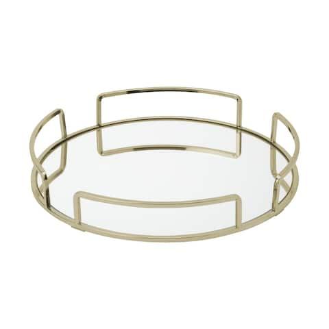 """Home Details Modern Round Mirror Vanity Tray in Satin Gold - 13""""x 13""""x 2.1"""""""