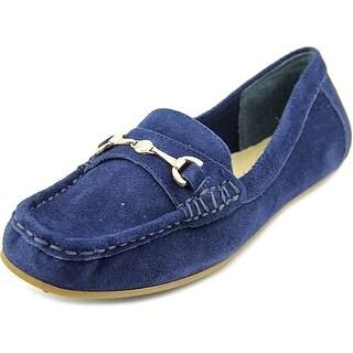 Isaac Mizrahi Annie Women  Moc Toe Suede Blue Loafer