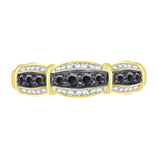 White Gold Plated Silver Prism Jewel 1.06 Carat Round Cut Black Diamond 7-Stone Prong Setting Band Size 7
