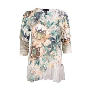 Style & Co. Women's Embellished Floral Print Top