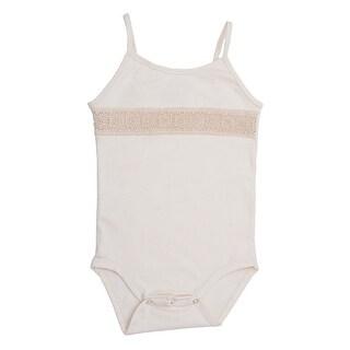 Baby Girls White Spaghetti Strap Organic Cotton Lace Bodysuit 0-12M
