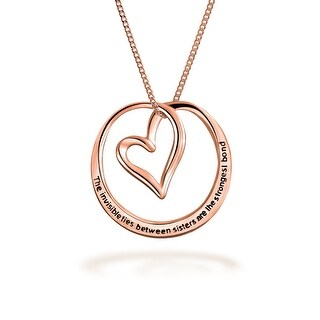 Rose Gold Plated Sterling Silver Circle Heart Sisters Message Pendant Necklace 18in
