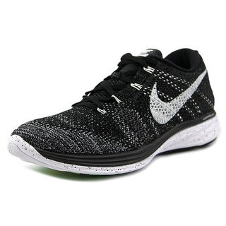 Nike Flyknit Lunar 3 Women Round Toe Canvas Black Running Shoe