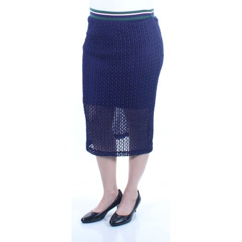 KIIND OF Womens Navy Textured Below The Knee Pencil Skirt Size: L