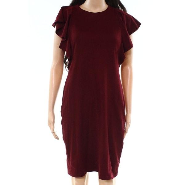 a99f3aa40c92 Shop Susana Monaco Red Women s Size Medium M Ruffled Sheath Dress ...