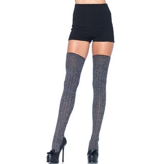 Grey Good Girl Thigh High Stockings, Thick Grey Thigh High Socks - One Size Fits most