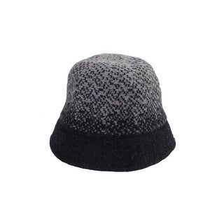 August Hat Black Grey Jacquard Wool Cloche OS