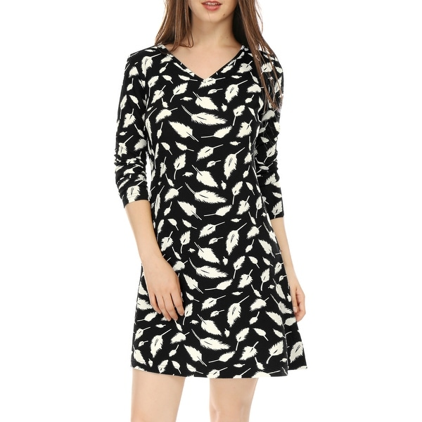 45ee1428c38d9 Shop Allegra K Women V Neck Long Sleeves Feather Print Mini Dress ...