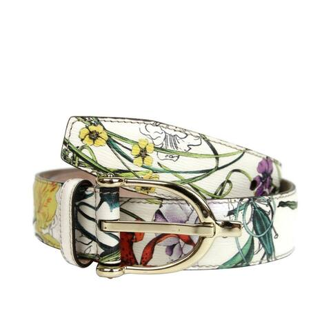 Gucci Unisex White Shangai Leather Floral Belt With Stirrup Buckle 309906 9064 (100 / 40) - 100 / 40